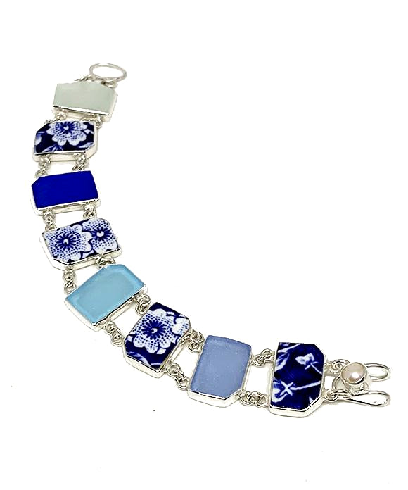 Blue & White Vintage Pottery with Blue Sea Glass Double Link Shard Bracelet - 8
