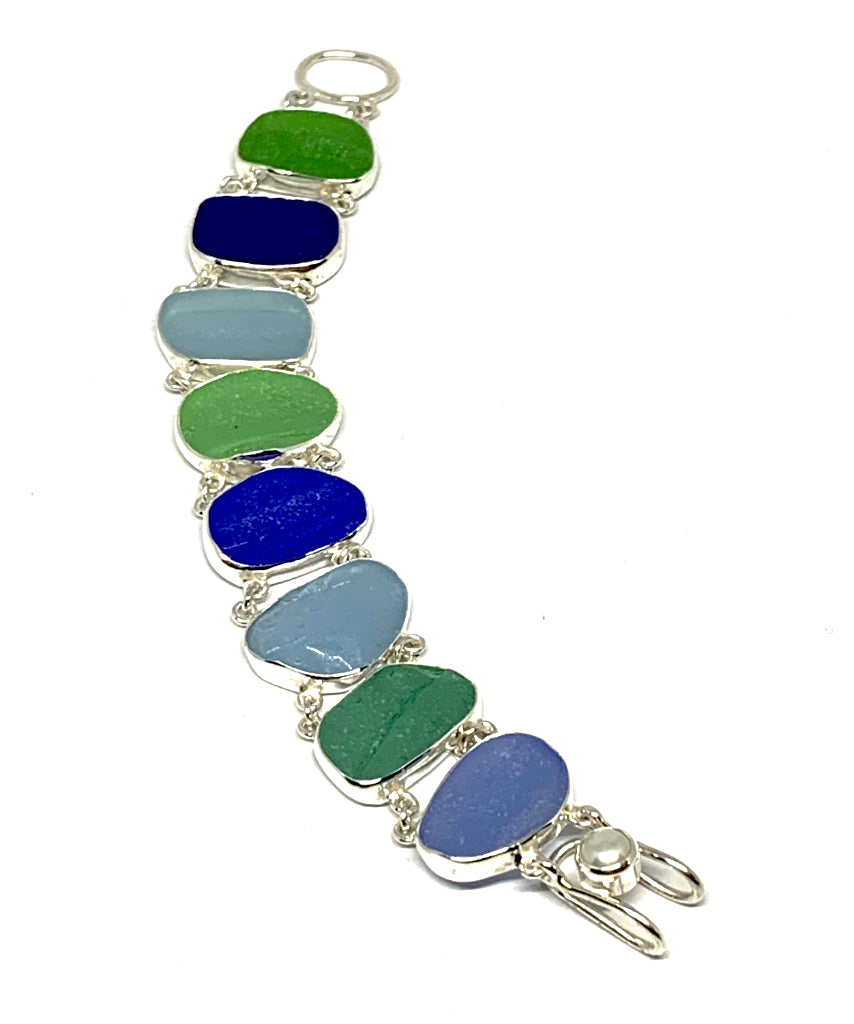 Textured Cobalt, Light Blue and Green Sea Glass Double Link Bracelet - 7 1/2