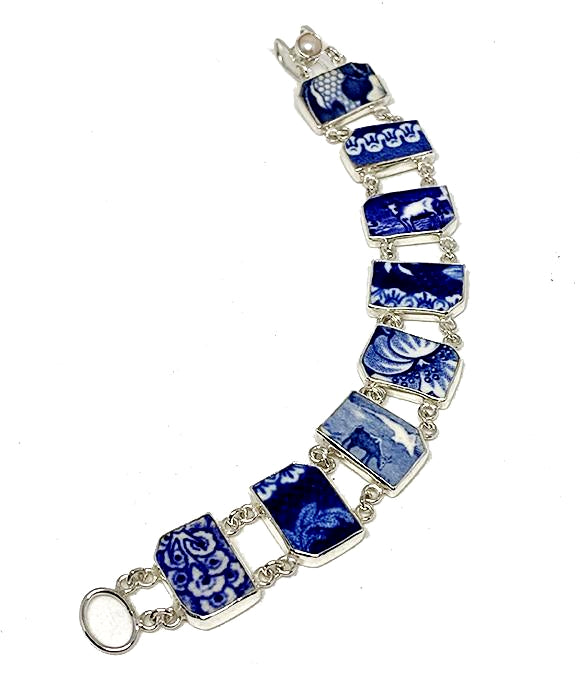 Blue & White Vintage Pottery of Flowers and Animals Double Link Shard Bracelet - 8