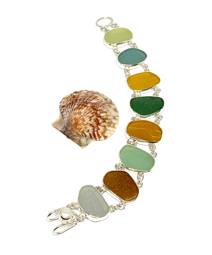 Light Earth Tone Sea Glass Double Link Bracelet - 7 1/2