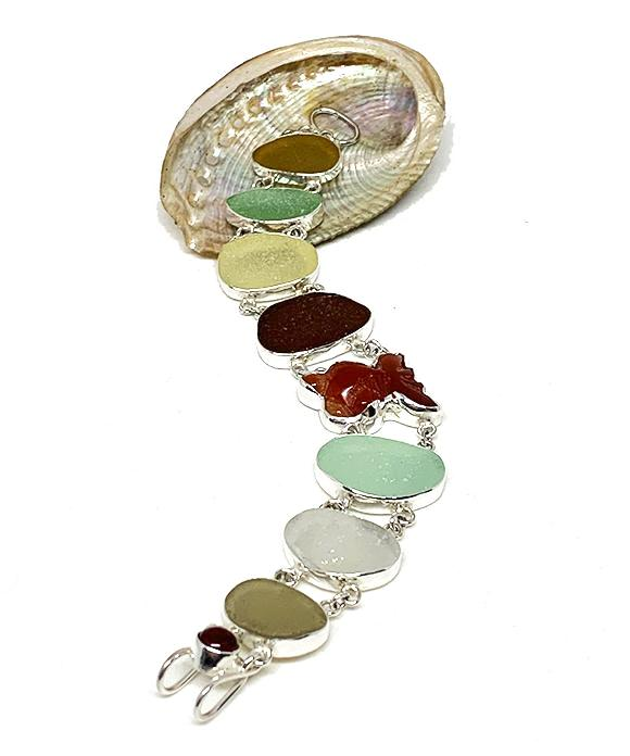 Gray, Aqua & Brown Sea Glass with Agate Koi Double Link Bracelet - 8