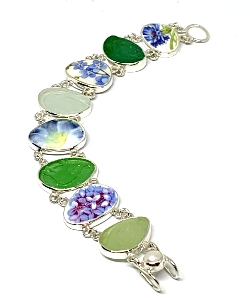 Blue Floral Vintage Pottery with Textured Sea Glass Double Link Bracelet - 7 1/2