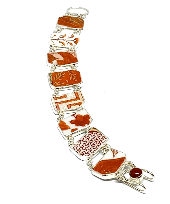 Orange Patterned Vintage Pottery Double Link Shard Bracelet - 7 1/2