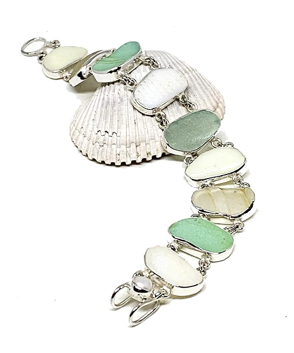 Textured Jadite, Soft Ivory, and Clear Sea Glass Double Link Bracelet - 8