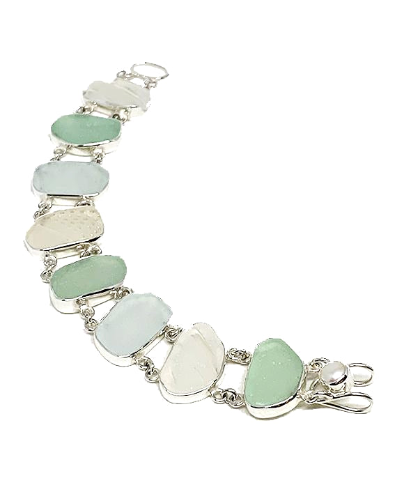 Textured Soft Aqua & Clear Sea Glass Double Link Bracelet - 7 1/2