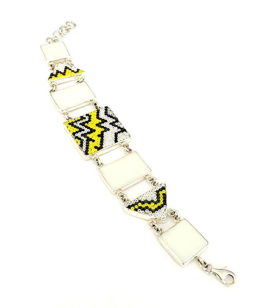 White, Black & Yellow Beaded Fused Glass with Stained Glass Bracelet