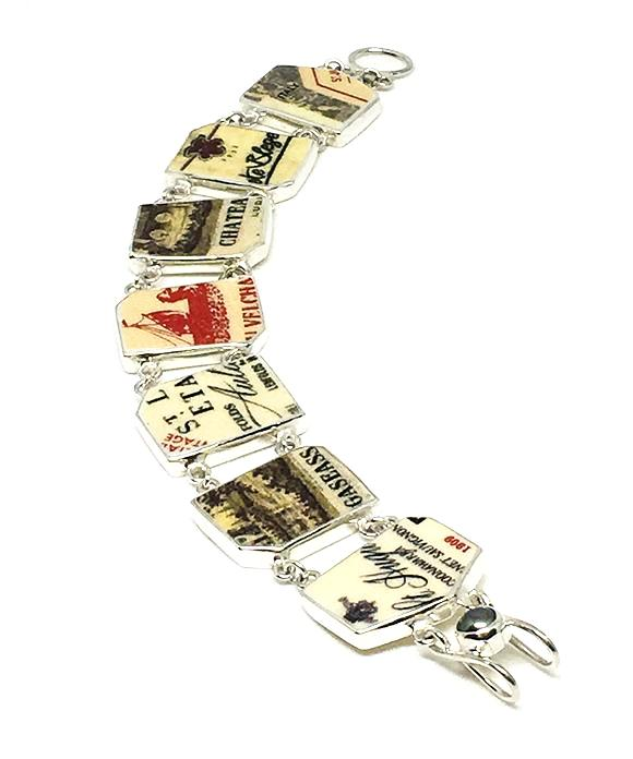 French Wine Label Vintage Pottery Double Link Bracelet - 7 1/2