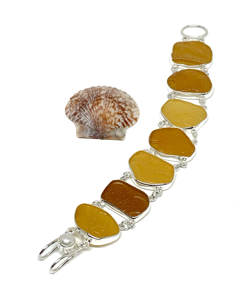 Shades of Textured Amber Sea Glass Double Link Bracelet - 7 1/2