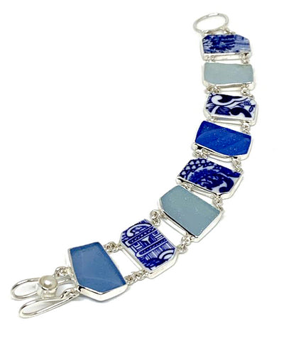 Blue & White Vintage Pottery with Blue & Aqua Sea Glass Double Link Bracelet - 7 3/4