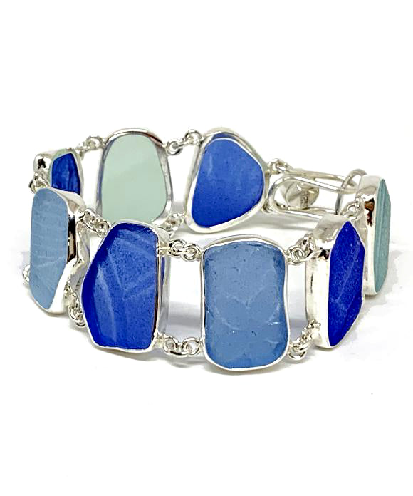 Shades of Textured Cobalt Blue & Aqua Sea Glass Double Link Bracelet - 7 3/4