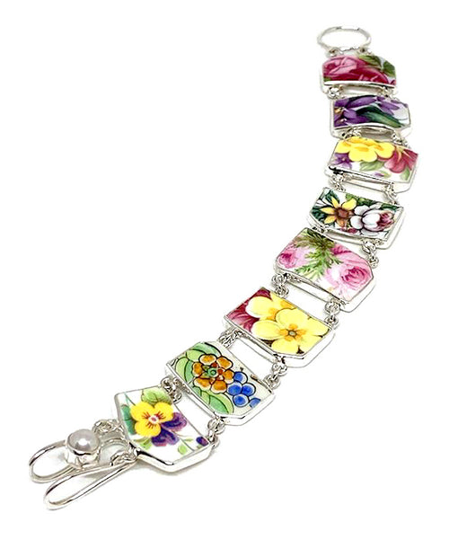 Bright Floral Bouquet Vintage Pottery Double Link Shard Bracelet - 8