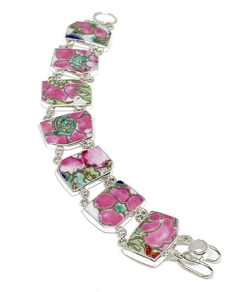 Bold Pink & Green with Gold Vintage Pottery Double Link Shard Bracelet - 7 1/2