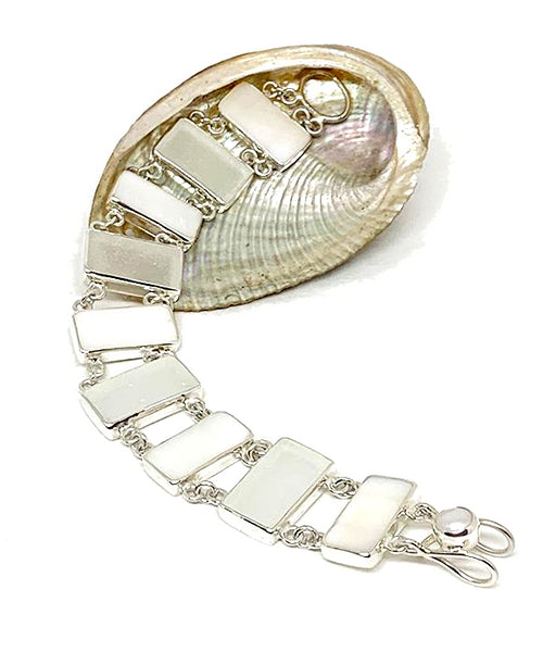 Clear Sea Glass with White Mother of Pearl Double Link Bracelet - 7 1/2