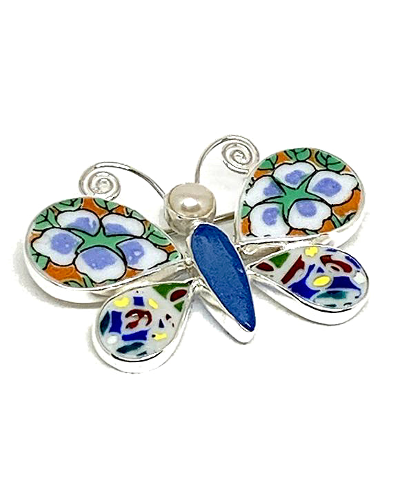 Butterfly Pin with Bold Vintage Pottery and Blue Sea Glass