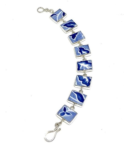 Blue and White Batik Leaf Vintage Pottery Bracelet - 7