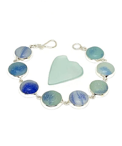 Blue & Aqua with Blue Swirl Sea Glass Marble Bracelet - 7 1/2