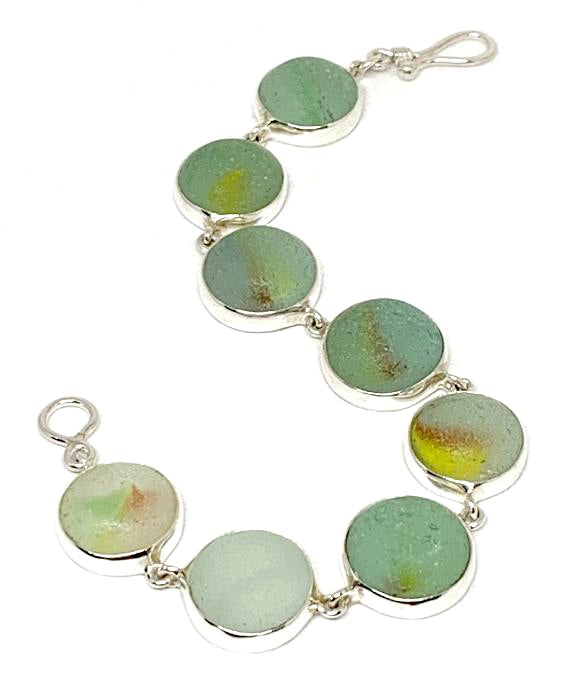 Green & Aqua with Color Swirl Sea Glass Marble Bracelet - 7 1/2