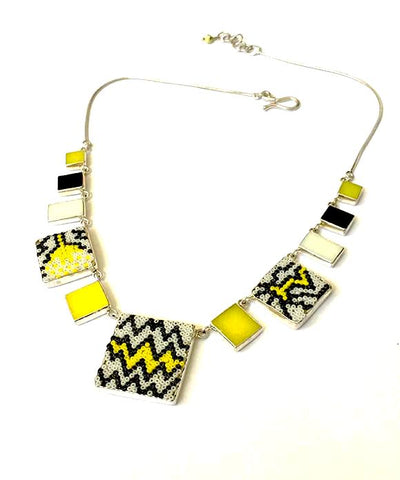 Yellow, White & Black Beaded Fused Glass Choker with Stained Glass