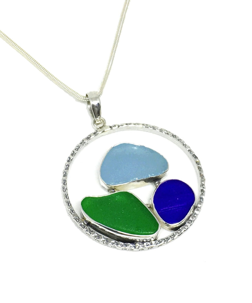 Green, Aqua and Cobalt Sea Glass Hoop Pendant on Sterling Chain