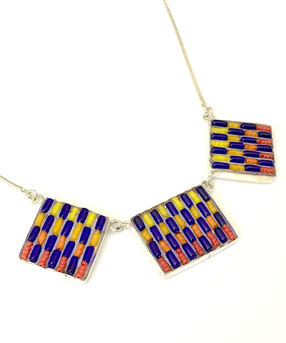Cobalt Blue,Red, Orange & Yellow Striped Beaded Fused Glass Choker