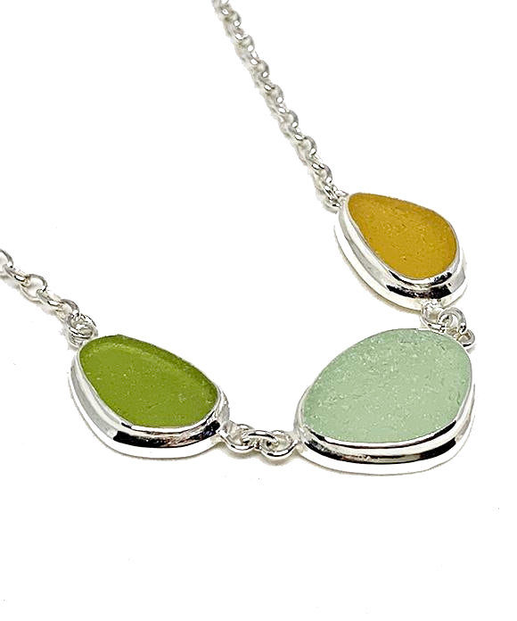 Light Olive Green,  Aqua & Amber 3 Piece Sea Glass Necklace