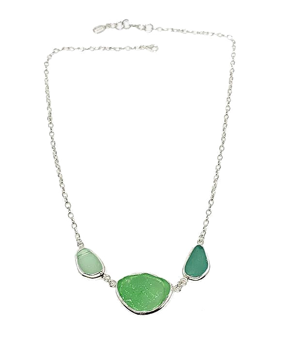 Various Shades of Textured Green Sea Glass 3 Piece Necklace