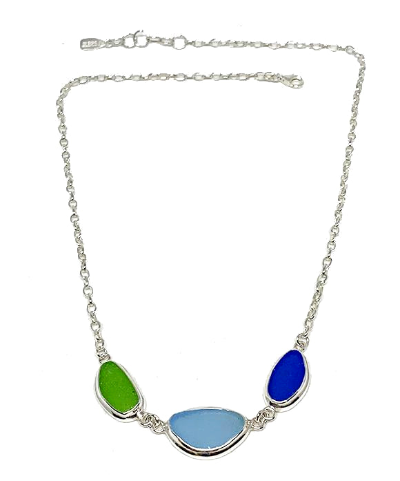 Lime Green,  Aqua & Cobalt 3 Piece Sea Glass Necklace