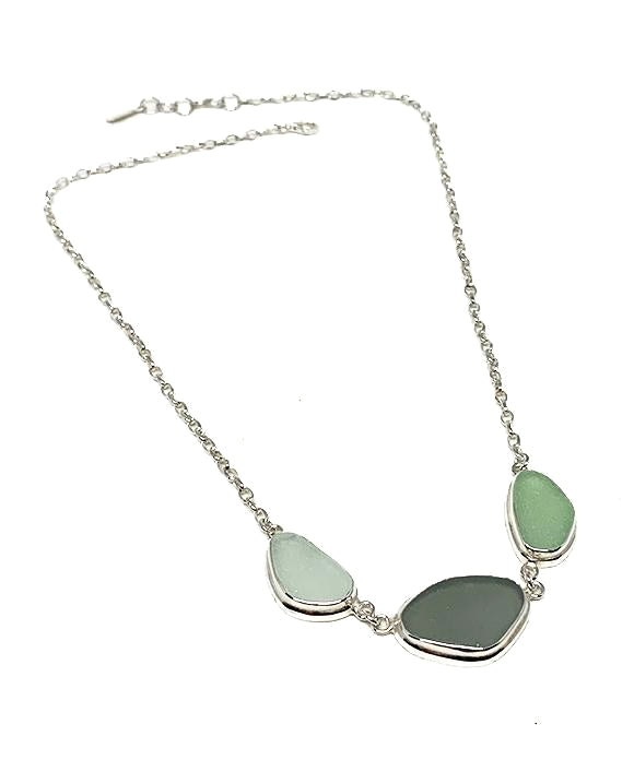 Clear, Light Grey & Aqua 3 Piece Sea Glass Necklace