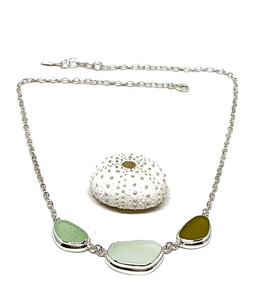 Soft Aqua, Clear & Olive 3 Piece Sea Glass Necklace
