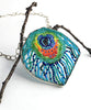 Fused Beaded Turquoise Peacock Feather Necklace