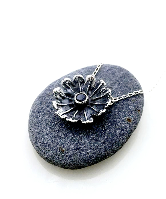 Poppy Necklace Cast in Sterling Silver with Faceted Garnet Stone