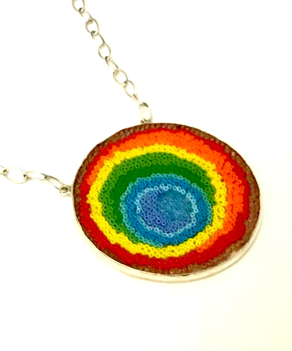 Rainbow Abstract Beaded Fused Glass Choker