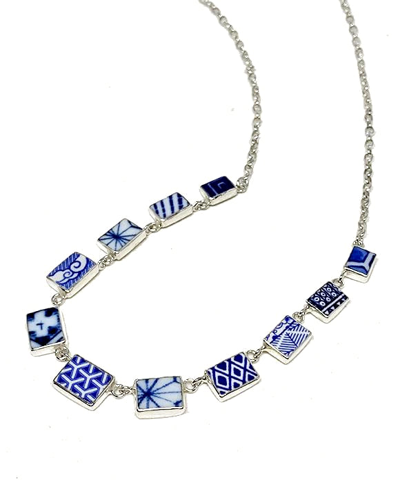 Blue & White Geometric Vintage Pottery 11 Piece Necklace