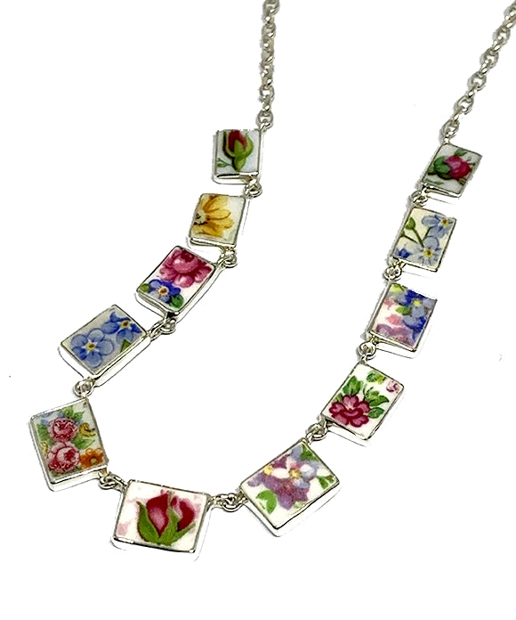Colorful Floral Vintage Pottery 11 Piece Necklace