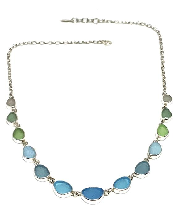 Aqua, Green to Clear Graduating 15 Piece Sea Glass Necklace