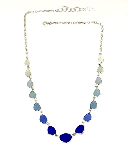Clear, Blue, Cobalt Graduating 15 Piece Sea Glass Necklace