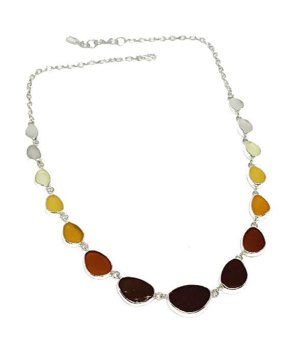 Brown, Amber to Clear Graduating 15 Piece Sea Glass Necklace