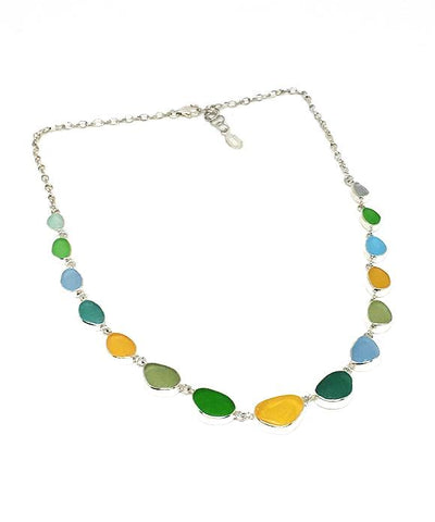 Light Earth Tone 15 Piece Sea Glass Necklace