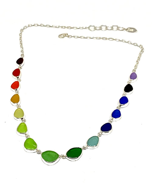 Rare Rainbow Sea Glass 15 Piece Necklace
