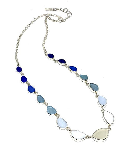 Clear, White Milk Glass, Blue to Cobalt Graduating 15 Piece Sea Glass Necklace