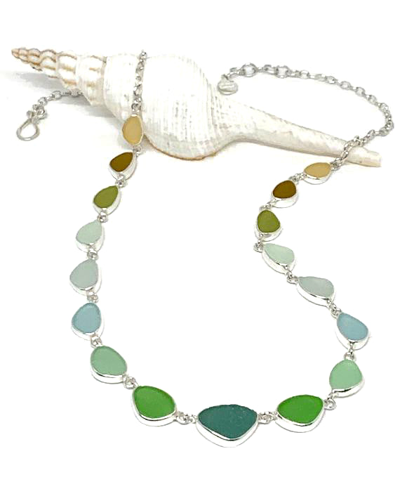 Forest, Green, Aqua, to Amber Graduating 19 Piece Sea Glass Necklace