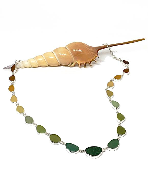 Brown, Amber, Sage to Olive Graduating 19 Piece Sea Glass Necklace