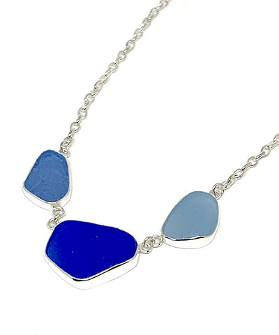 Textured Blue, Cobalt and Cornflower Blue 3 Piece Sea Glass Necklace