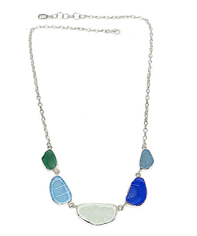 Textured Blues 5 Piece Sea Glass Necklace