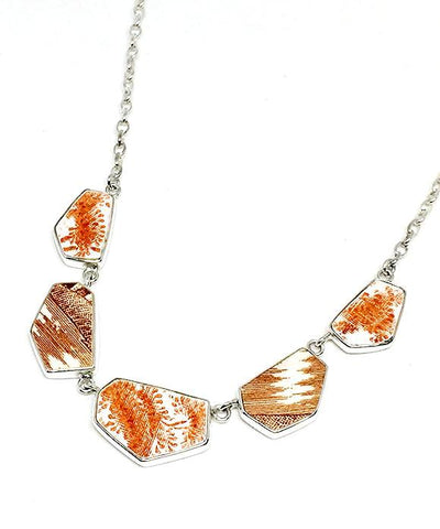 Orange and Brown Transfer Ware Vintage Pottery Necklace
