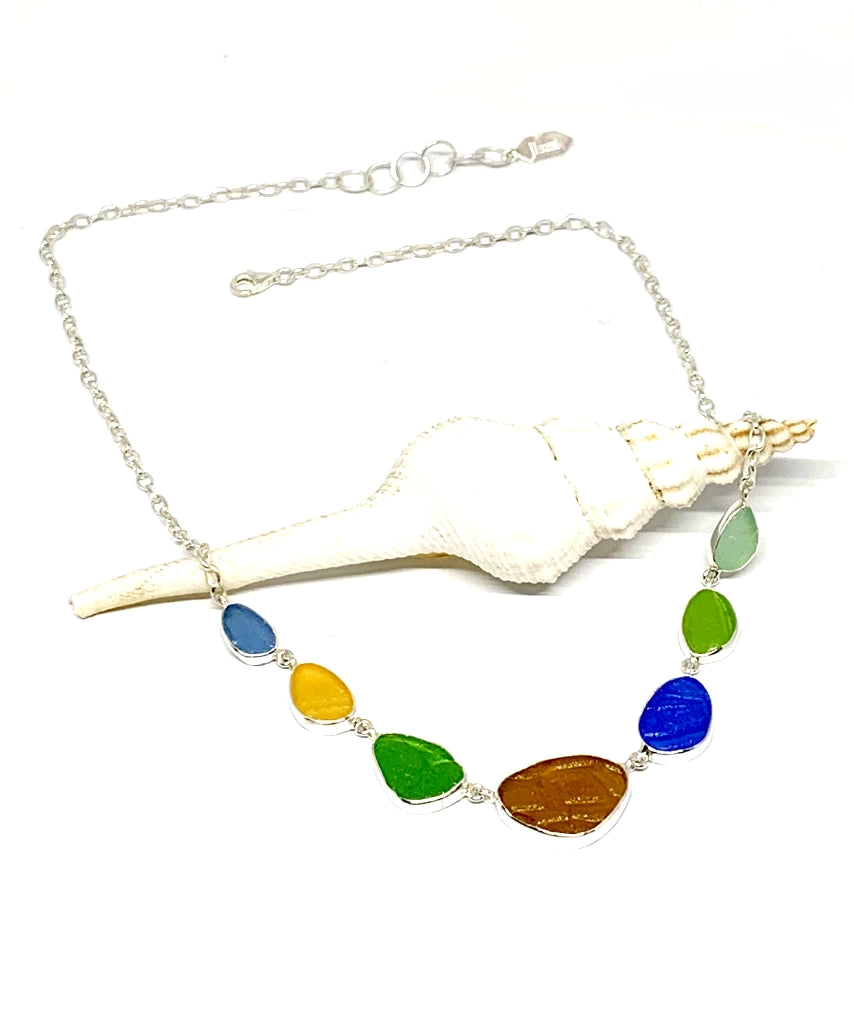 Textured Earth Tone 7 Piece Sea Glass Necklace
