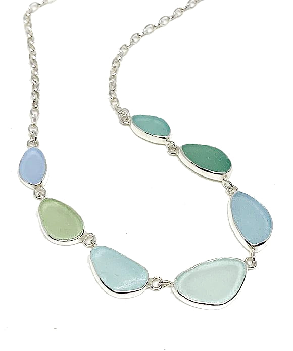 Soft Aqua and Blue 7 Piece Sea Glass Necklace