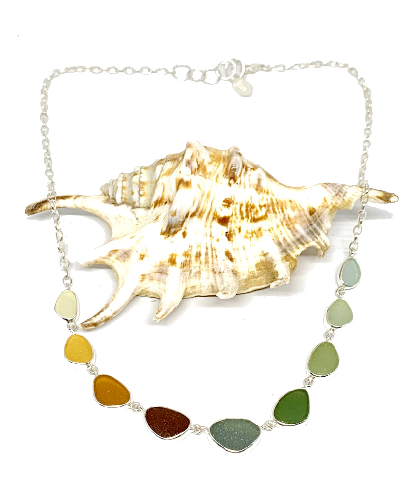 Graduating Amber to Olive 9 Piece Sea Glass Necklace