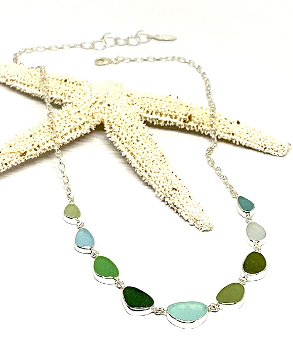 Olive and Aqua 9 Piece Sea Glass Necklace