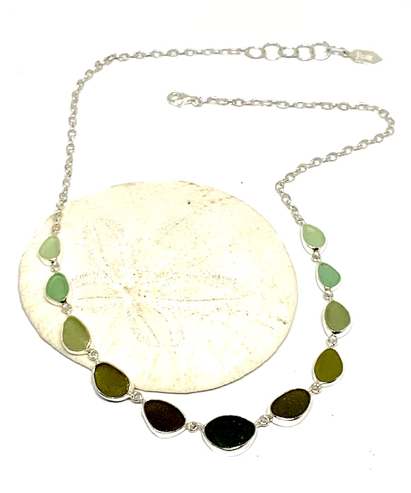 Light Aqua, Sage Green to Olive Graduating 11 Piece Sea Glass Necklace
